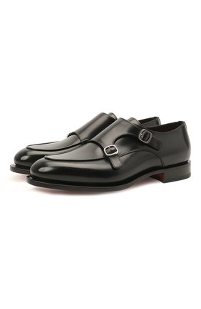 Мужские кожаные монки SANTONI черного цвета, арт. MCC016036MC3HVVDN01   Фото 1