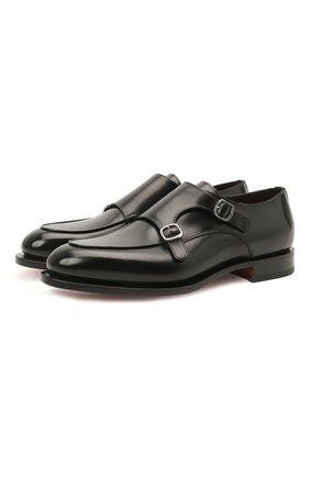 Мужские кожаные монки SANTONI черного цвета, арт. MCC016036MC3HVVDN01 | Фото 1 (Статус проверки: Проверено, Проверена категория; Материал внутренний: Натуральная кожа; Стили: Классический)