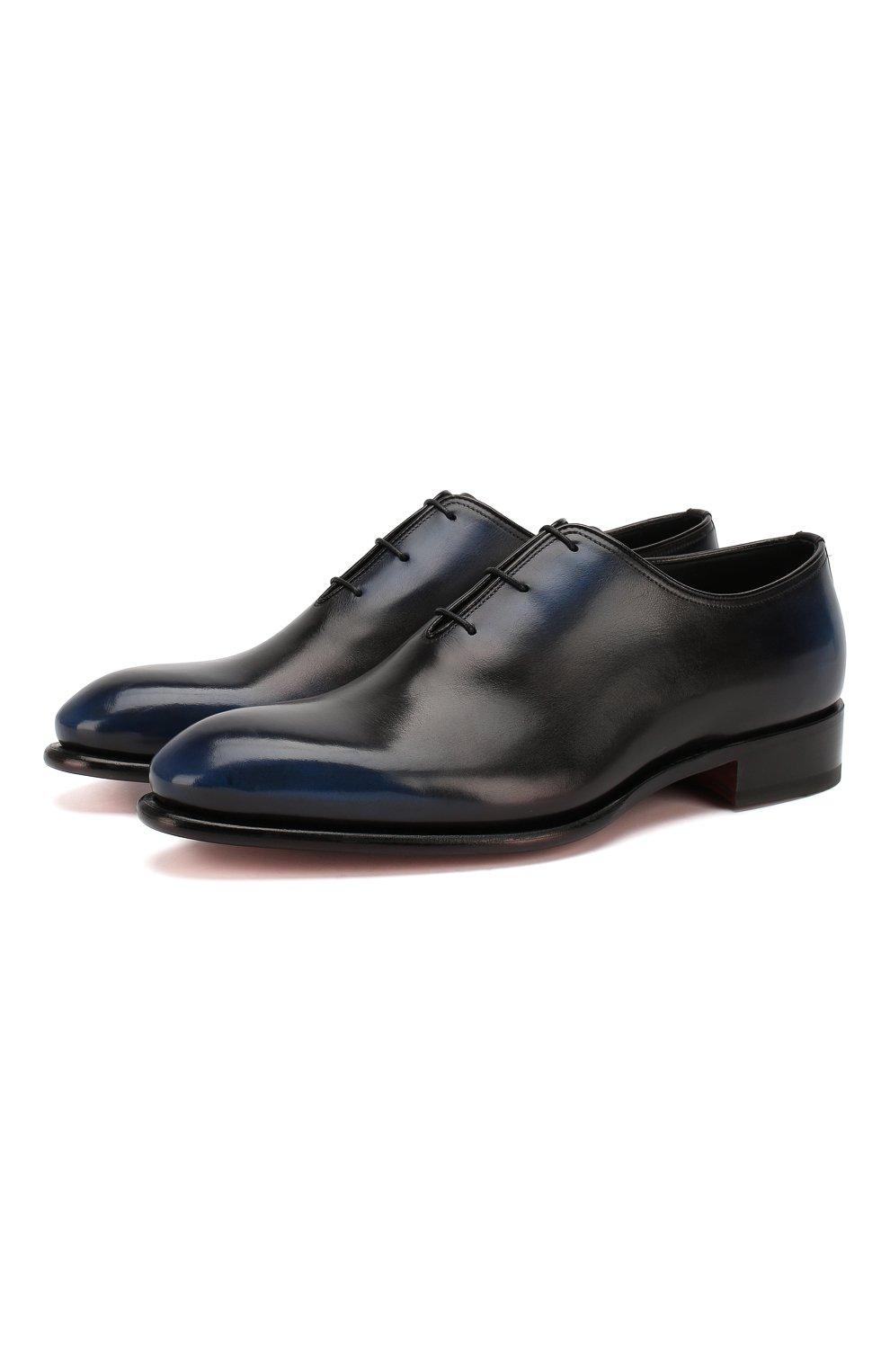 Мужские кожаные оксфорды SANTONI темно-синего цвета, арт. MCCR16229MC1HNGWN56   Фото 1