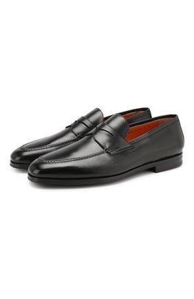 Мужские кожаные пенни-лоферы SANTONI черного цвета, арт. MCNC15609SI1ESKTN01 | Фото 1