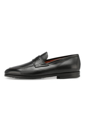 Мужские кожаные пенни-лоферы SANTONI черного цвета, арт. MCNC15609SI1ESKTN01 | Фото 3