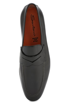 Мужские кожаные пенни-лоферы SANTONI черного цвета, арт. MCNC15609SI1ESKTN01 | Фото 5
