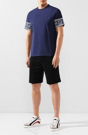 Мужская хлопковая футболка KENZO темно-синего цвета, арт. F005TS0434BD | Фото 2