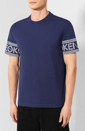 Мужская хлопковая футболка KENZO темно-синего цвета, арт. F005TS0434BD | Фото 3