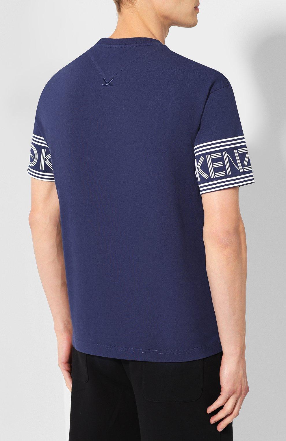 Мужская хлопковая футболка KENZO темно-синего цвета, арт. F005TS0434BD | Фото 4
