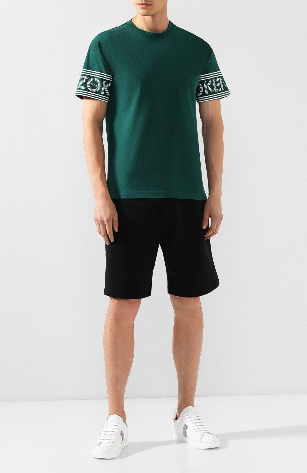 Мужская хлопковая футболка KENZO зеленого цвета, арт. F565TS0434BD | Фото 2