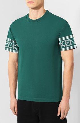 Мужская хлопковая футболка KENZO зеленого цвета, арт. F565TS0434BD | Фото 3