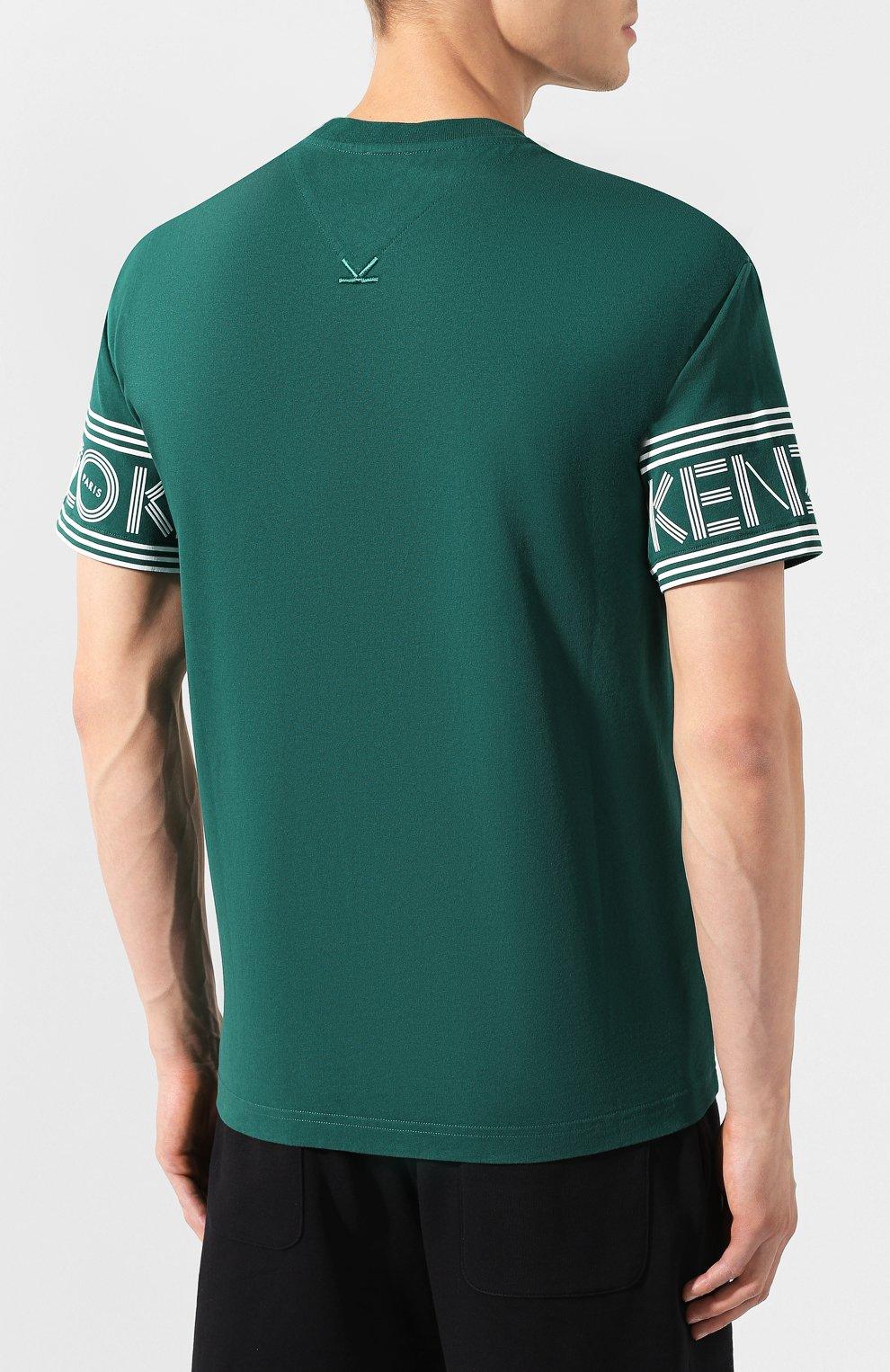 Мужская хлопковая футболка KENZO зеленого цвета, арт. F565TS0434BD | Фото 4
