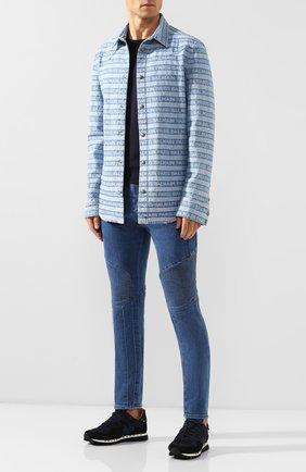 Мужские джинсы BALMAIN синего цвета, арт. SH15256/Z191   Фото 2