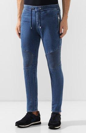 Мужские джинсы BALMAIN синего цвета, арт. SH15256/Z191   Фото 3