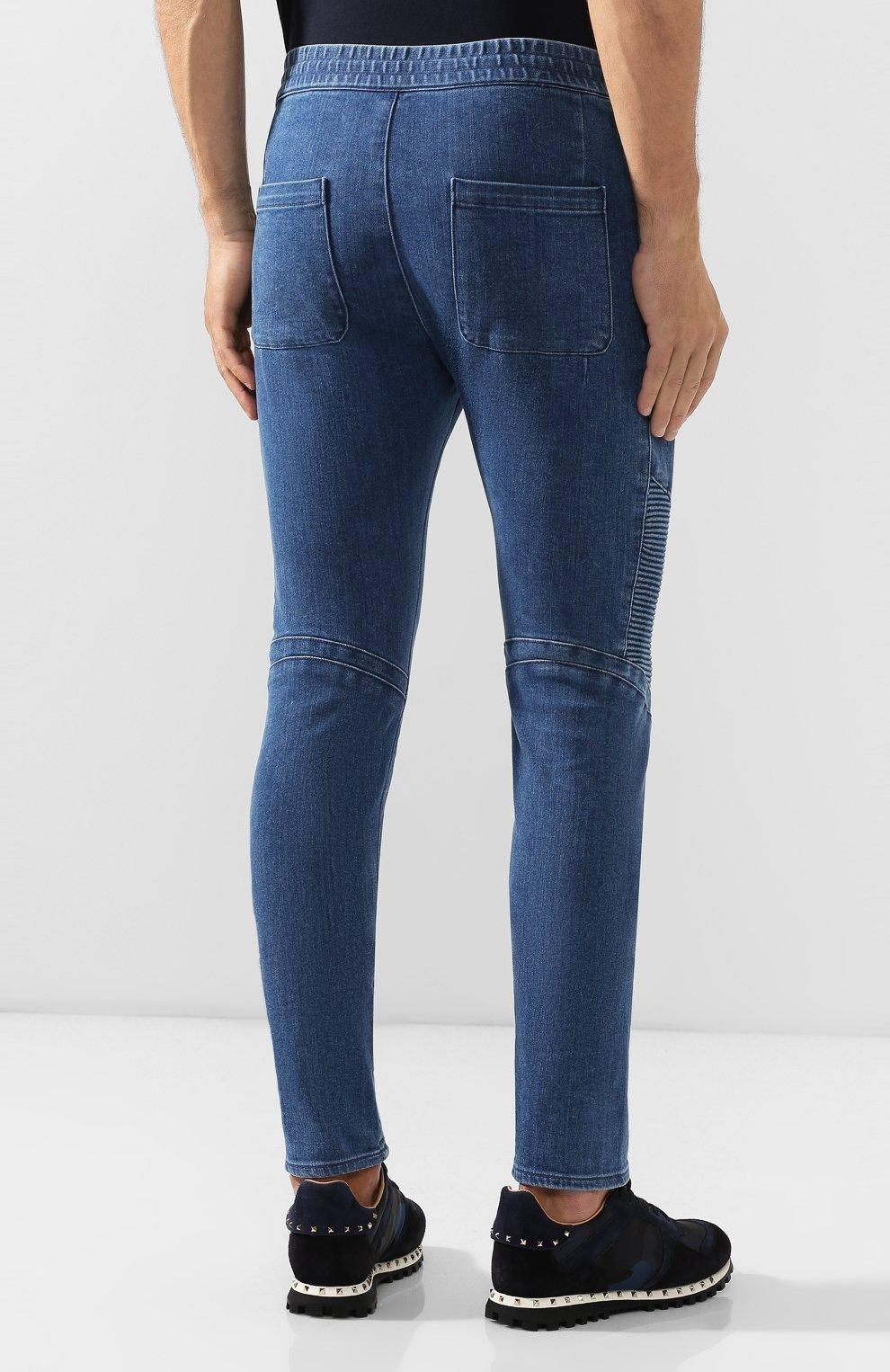 Мужские джинсы BALMAIN синего цвета, арт. SH15256/Z191   Фото 4