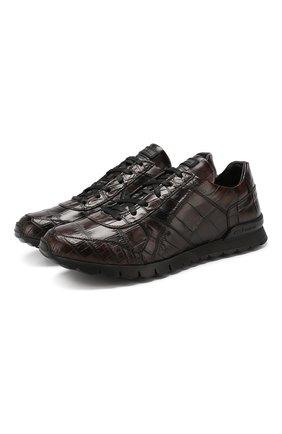Мужские кроссовки из кожи крокодила KITON коричневого цвета, арт. USSVLAXN00102/CNIL   Фото 1