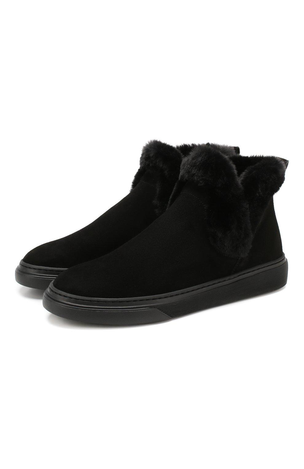 Женские замшевые ботинки HOGAN черного цвета, арт. HXW3660A030JFH   Фото 1