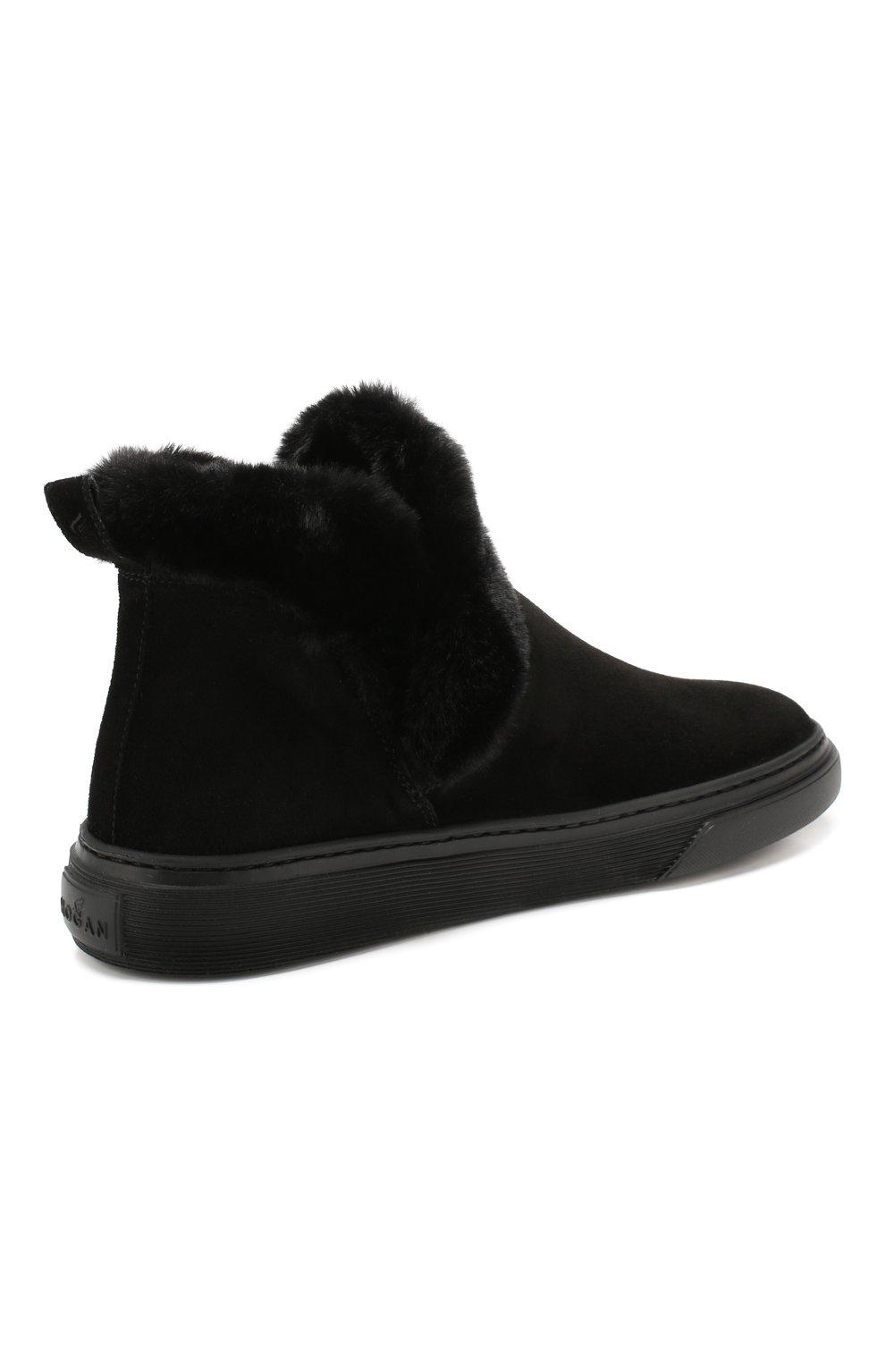 Женские замшевые ботинки HOGAN черного цвета, арт. HXW3660A030JFH   Фото 4