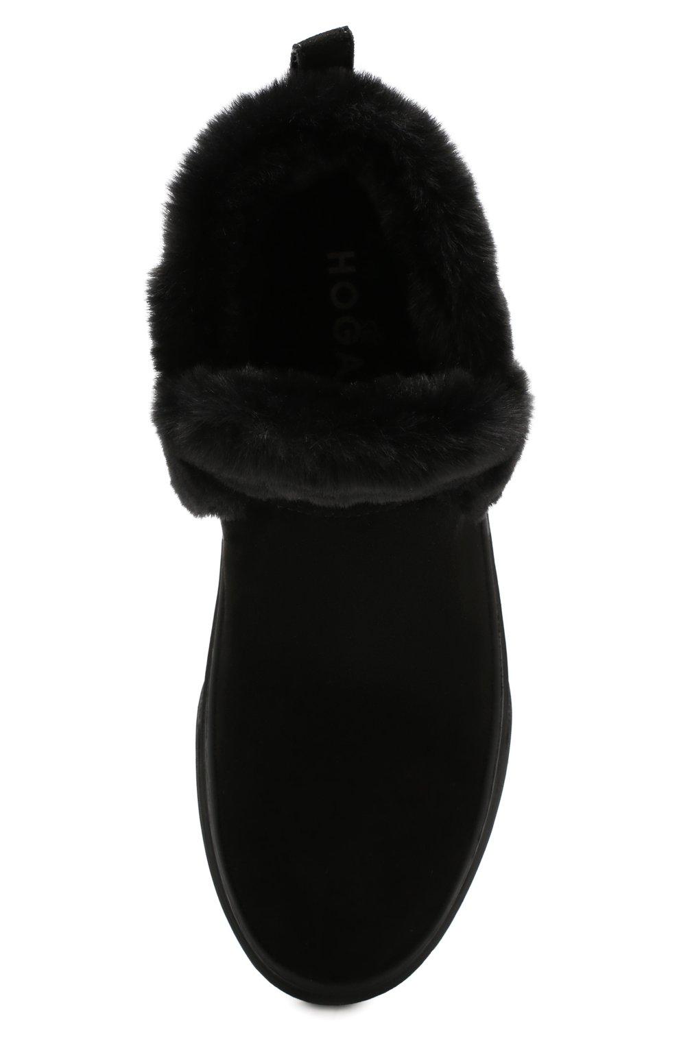 Женские замшевые ботинки HOGAN черного цвета, арт. HXW3660A030JFH   Фото 5