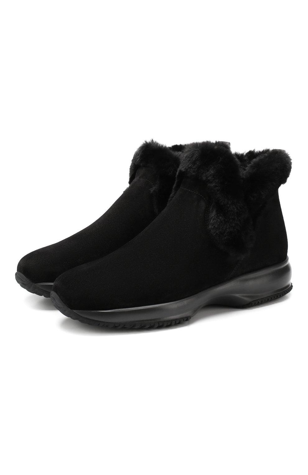 Женские замшевые ботинки HOGAN черного цвета, арт. HXW00N0AL80K6V | Фото 1