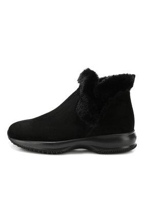 Женские замшевые ботинки HOGAN черного цвета, арт. HXW00N0AL80K6V | Фото 3