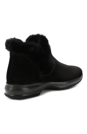 Женские замшевые ботинки HOGAN черного цвета, арт. HXW00N0AL80K6V | Фото 4