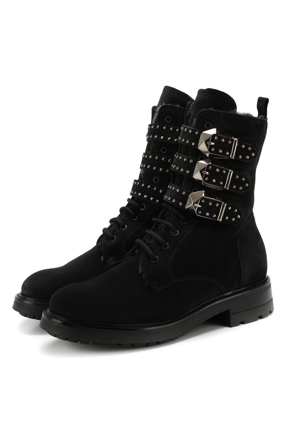 Женские замшевые ботинки PERTINI черного цвета, арт. 192W16377C1 | Фото 1