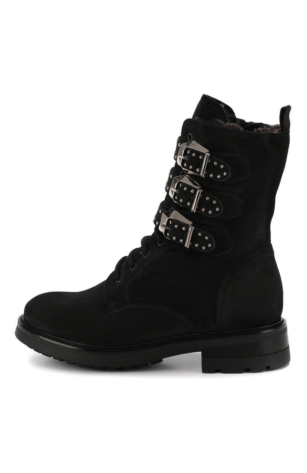 Женские замшевые ботинки PERTINI черного цвета, арт. 192W16377C1 | Фото 3