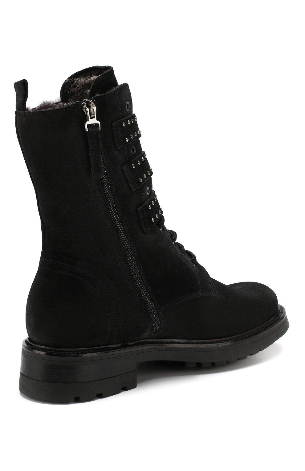 Женские замшевые ботинки PERTINI черного цвета, арт. 192W16377C1 | Фото 4