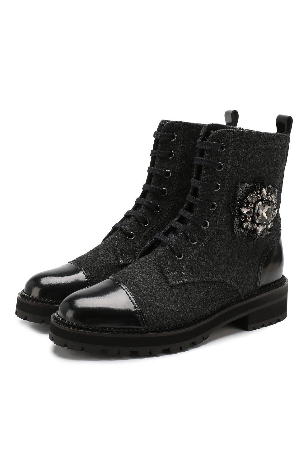 Женские комбинированные ботинки PERTINI черного цвета, арт. 192W16498D1 | Фото 1