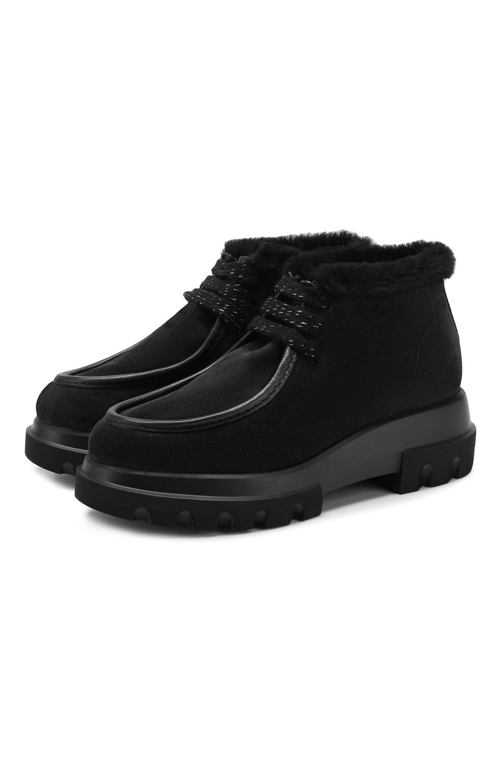 Женские замшевые ботинки PERTINI черного цвета, арт. 192W16508C27 | Фото 1