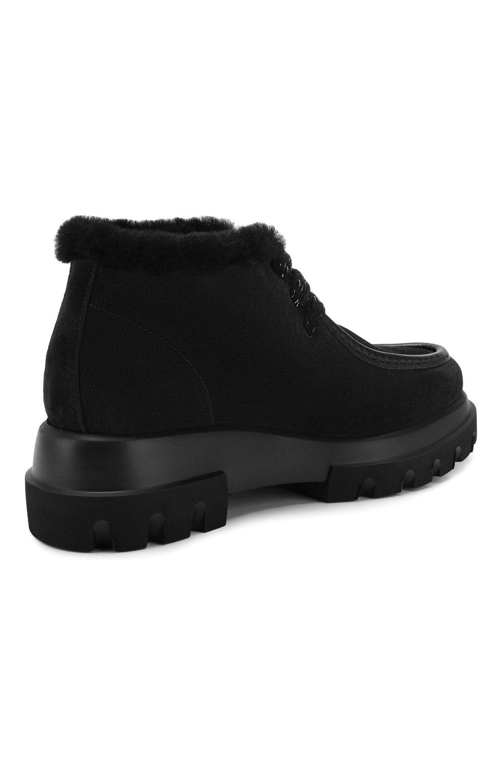 Женские замшевые ботинки PERTINI черного цвета, арт. 192W16508C27 | Фото 4