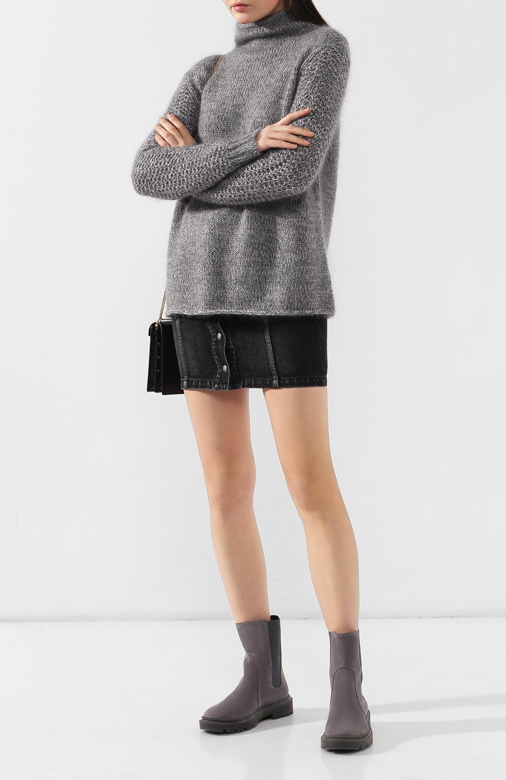 Женские замшевые челси CASADEI темно-серого цвета, арт. 1R131N0201CAM0S9200 | Фото 2