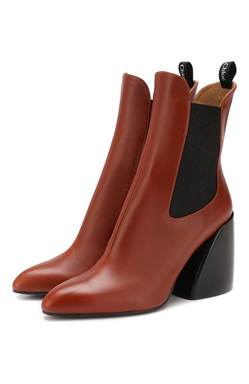 Женские кожаные ботильоны wave CHLOÉ коричневого цвета, арт. CHC19A17691 | Фото 1