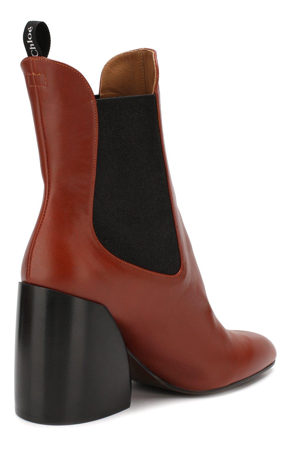 Женские кожаные ботильоны wave CHLOÉ коричневого цвета, арт. CHC19A17691 | Фото 4