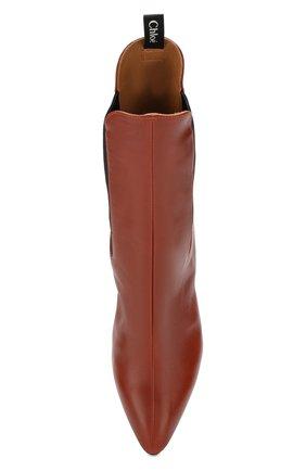 Женские кожаные ботильоны wave CHLOÉ коричневого цвета, арт. CHC19A17691 | Фото 5