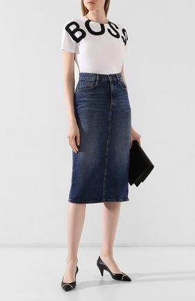 Женская джинсовая юбка BOSS темно-синего цвета, арт. 50415569 | Фото 2