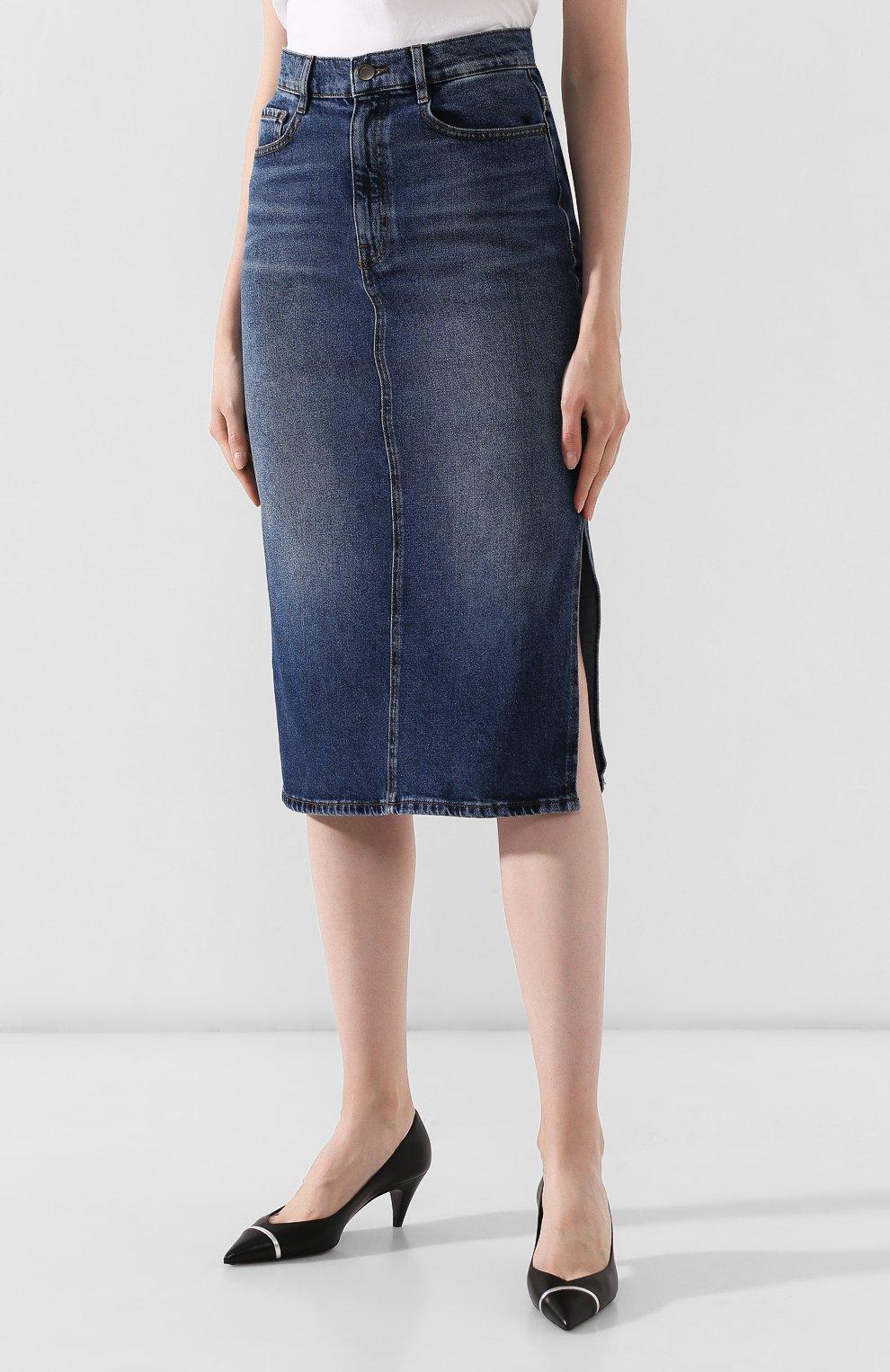 Женская джинсовая юбка BOSS темно-синего цвета, арт. 50415569 | Фото 3