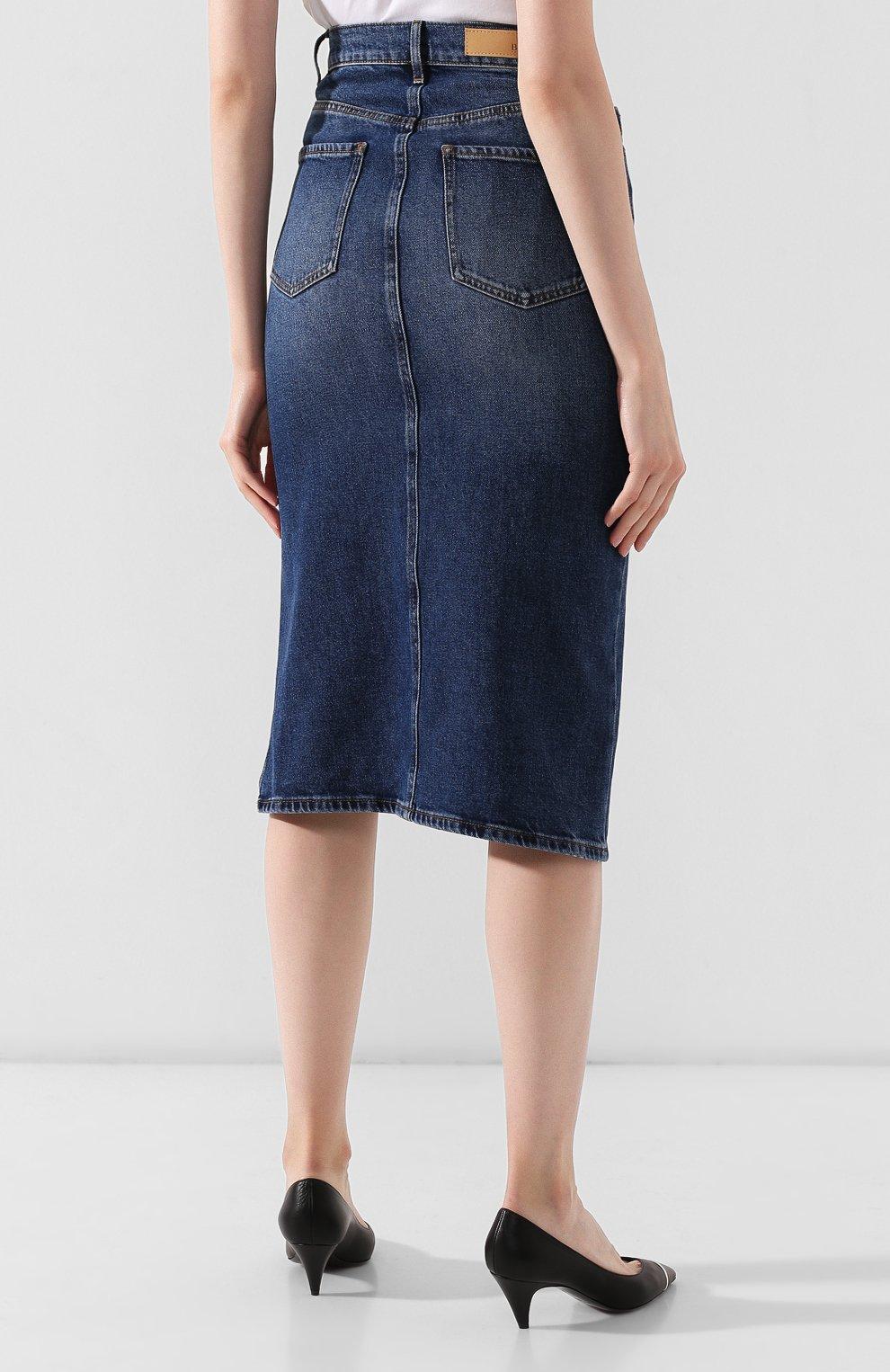 Женская джинсовая юбка BOSS темно-синего цвета, арт. 50415569 | Фото 4