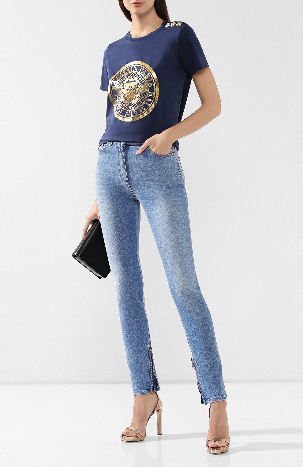 Женские джинсы BALMAIN голубого цвета, арт. SF15592/D067 | Фото 2