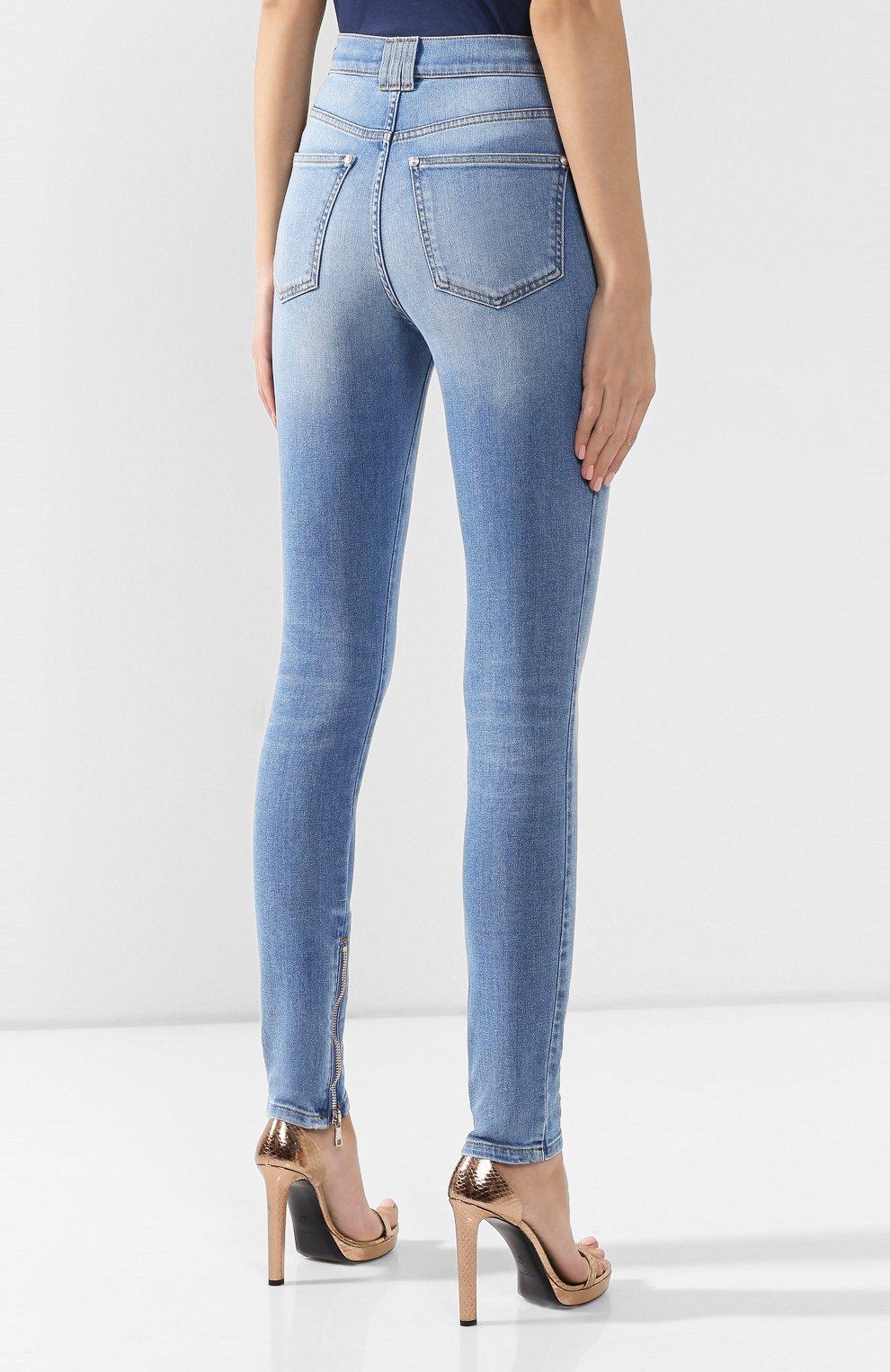 Женские джинсы BALMAIN голубого цвета, арт. SF15592/D067 | Фото 4