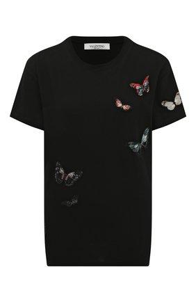 Женская хлопковая футболка VALENTINO черного цвета, арт. SB3MG02G4SP | Фото 1