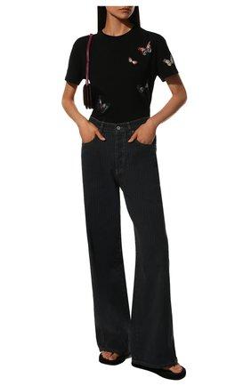 Женская хлопковая футболка VALENTINO черного цвета, арт. SB3MG02G4SP | Фото 2