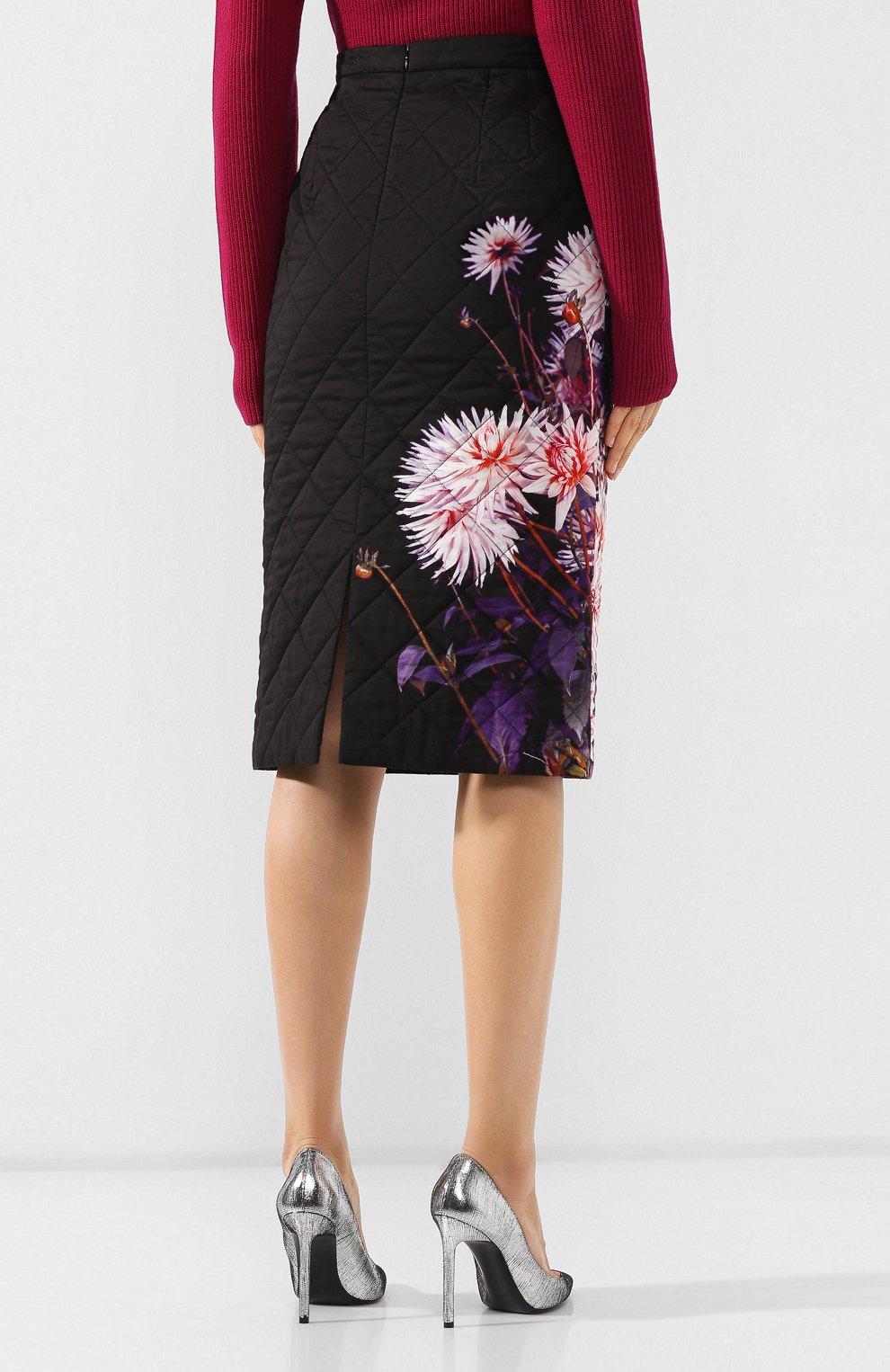 Женская стеганая юбка DRIES VAN NOTEN черного цвета, арт. 192-30815-8537 | Фото 4