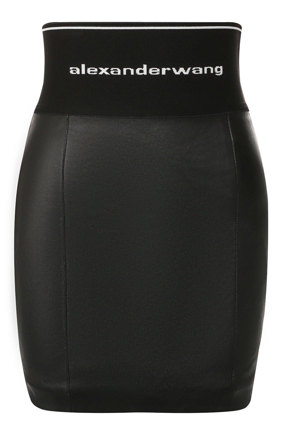 Женская кожаная юбка ALEXANDER WANG черного цвета, арт. 1WC2195079   Фото 1