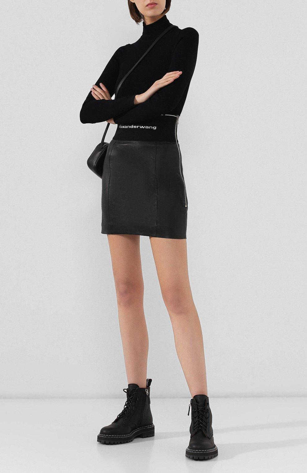 Женская кожаная юбка ALEXANDER WANG черного цвета, арт. 1WC2195079   Фото 2
