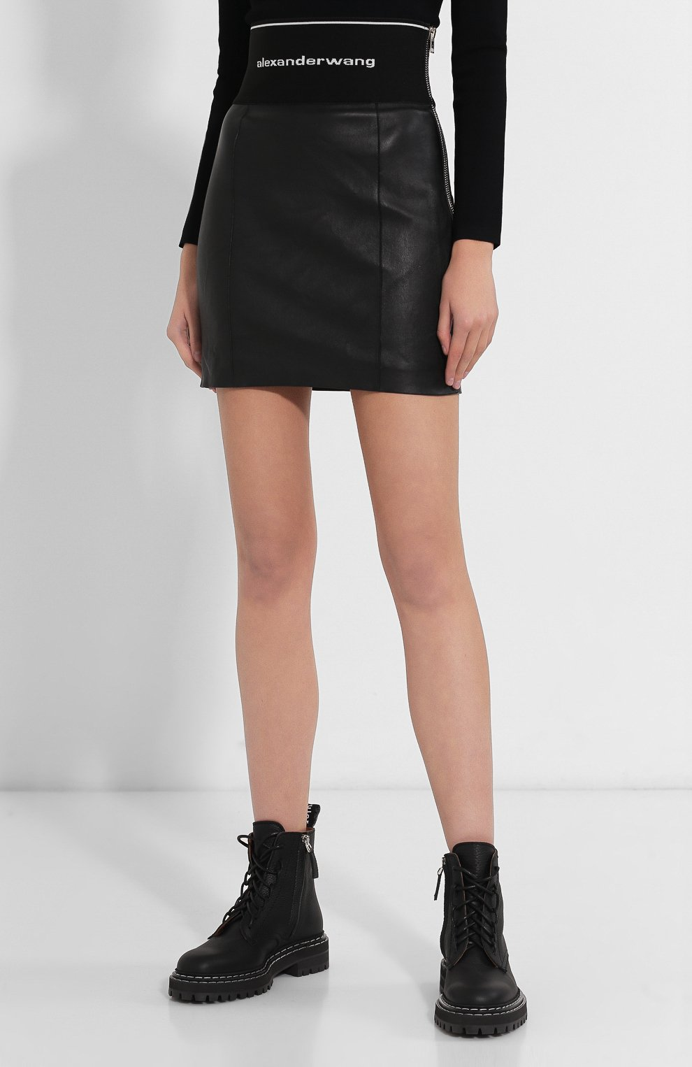 Женская кожаная юбка ALEXANDER WANG черного цвета, арт. 1WC2195079   Фото 3