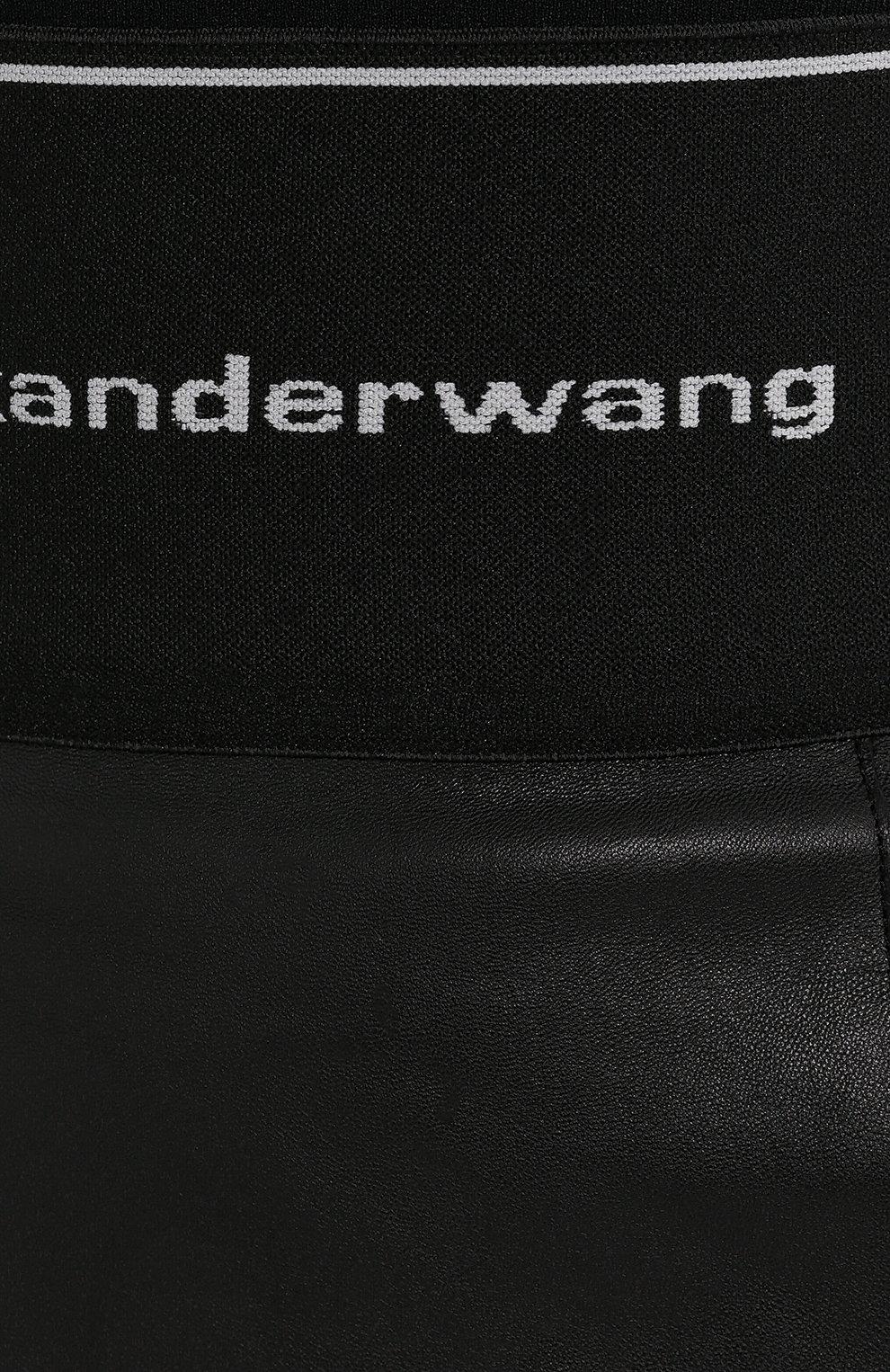Женская кожаная юбка ALEXANDER WANG черного цвета, арт. 1WC2195079   Фото 5