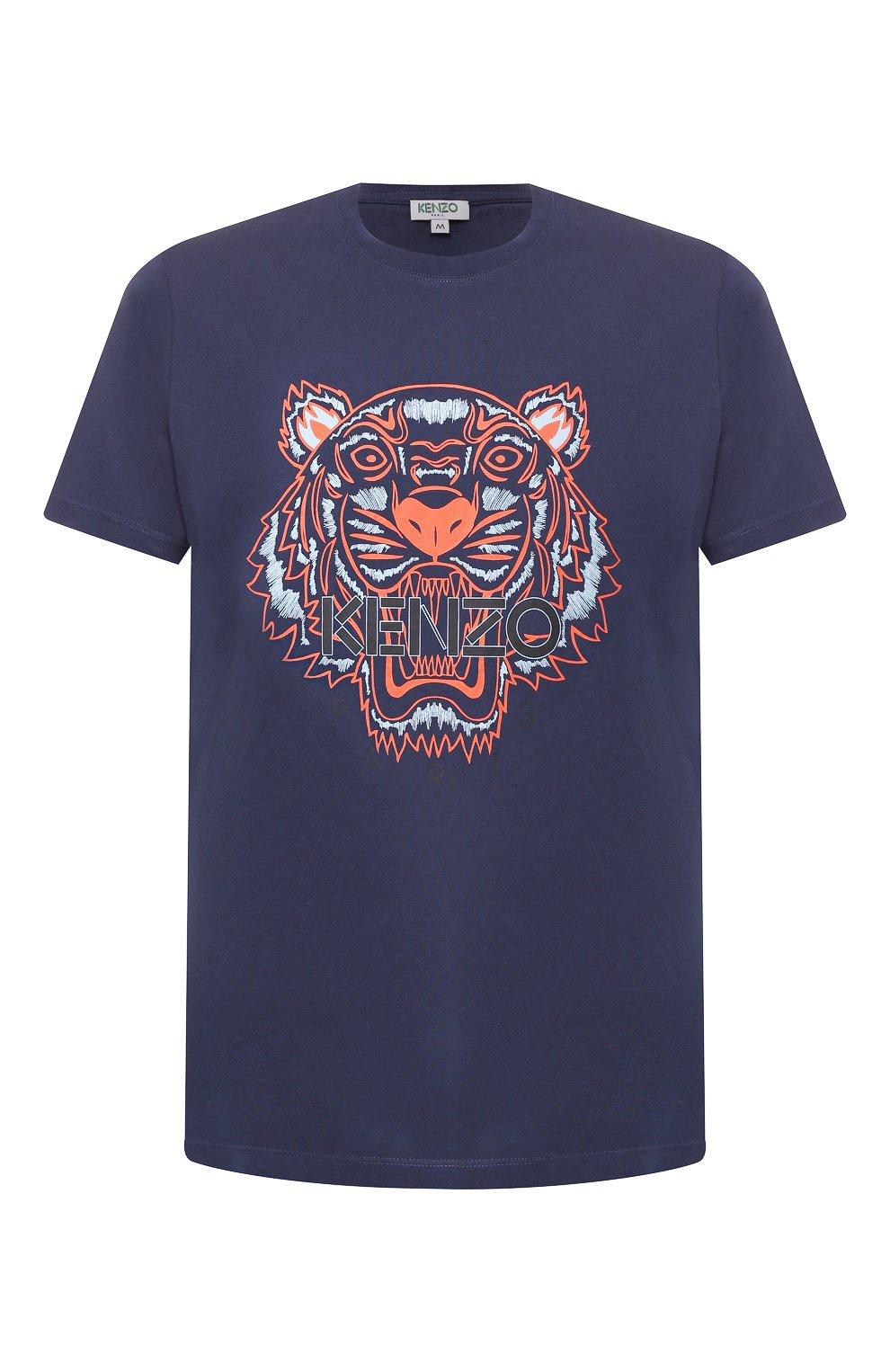 Мужская хлопковая футболка KENZO темно-синего цвета, арт. F965TS0504YA   Фото 1
