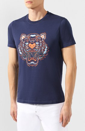 Мужская хлопковая футболка KENZO темно-синего цвета, арт. F965TS0504YA   Фото 3