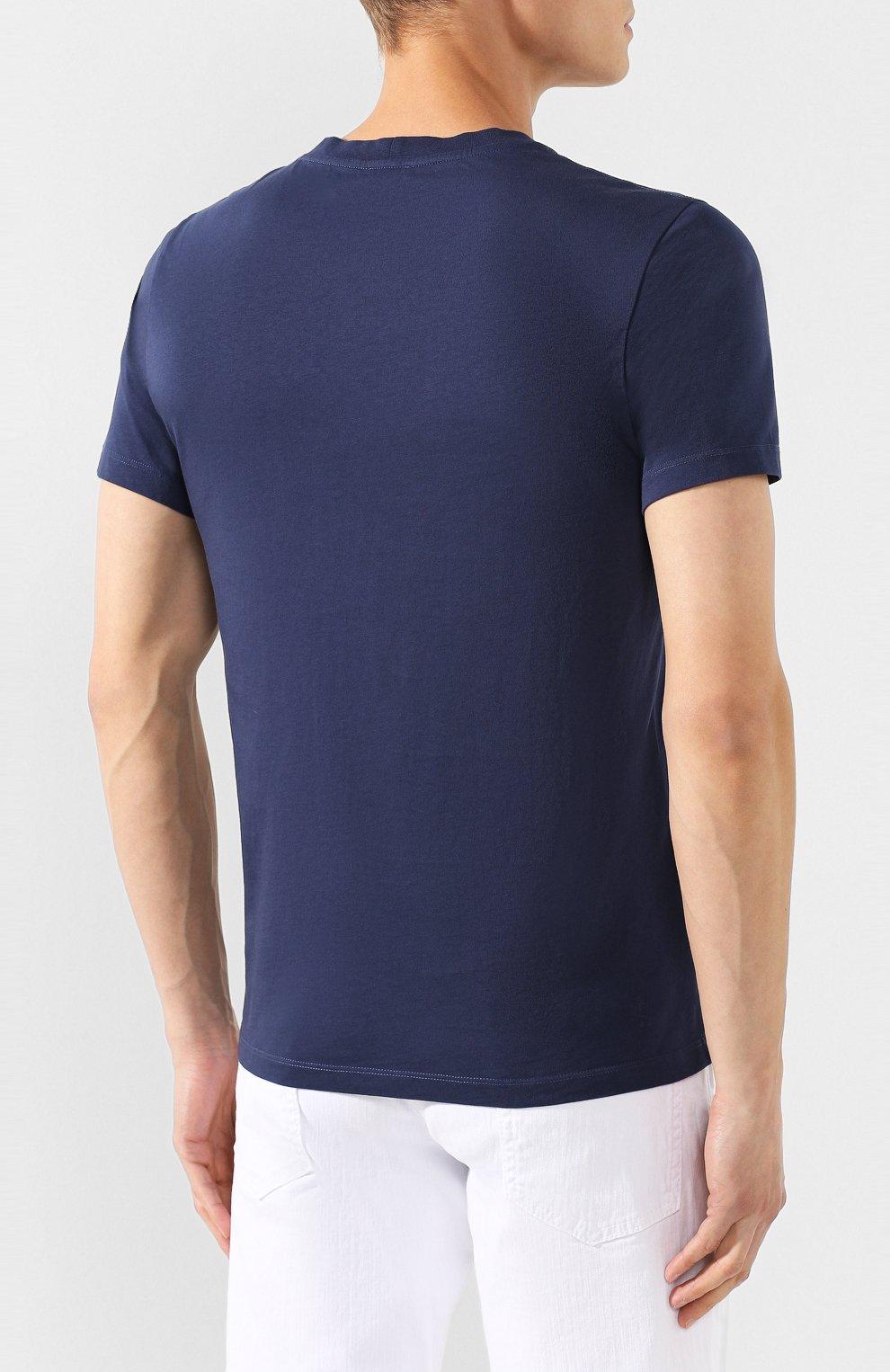 Мужская хлопковая футболка KENZO темно-синего цвета, арт. F965TS0504YA   Фото 4