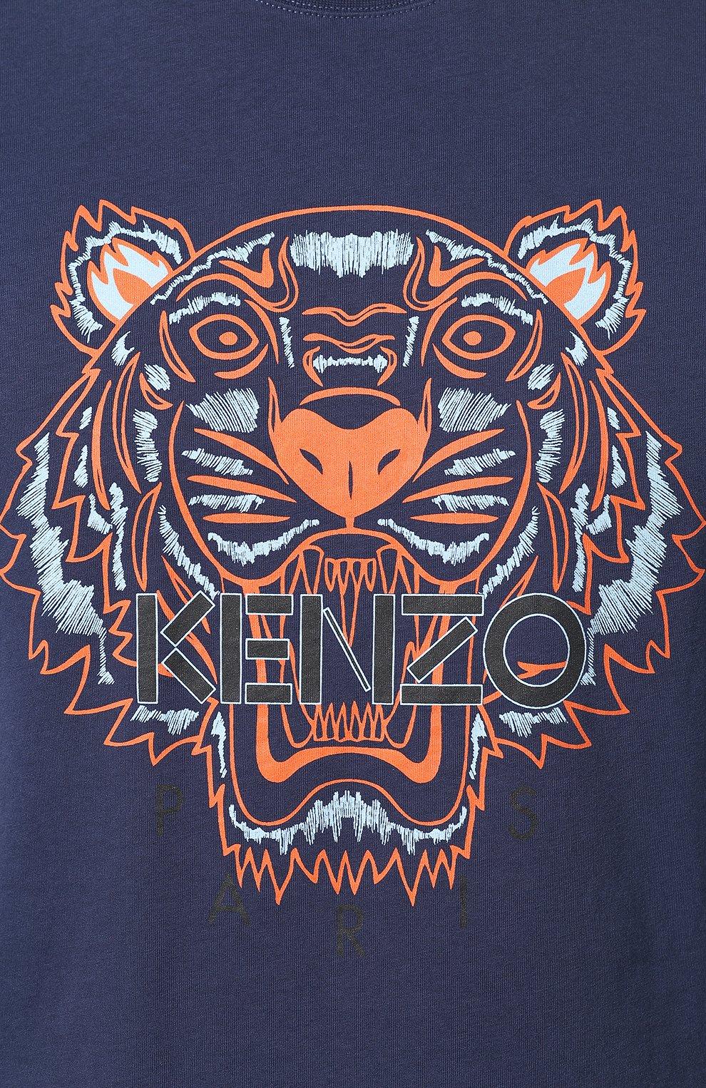 Мужская хлопковая футболка KENZO темно-синего цвета, арт. F965TS0504YA   Фото 5