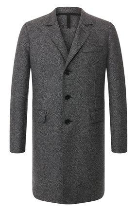 Мужской шерстяное пальто HARRIS WHARF LONDON темно-серого цвета, арт. C9113MLK | Фото 1 (Статус проверки: Проверено, Проверена категория; Рукава: Длинные; Материал внешний: Шерсть; Мужское Кросс-КТ: Верхняя одежда, пальто-верхняя одежда; Стили: Классический; Длина (верхняя одежда): До середины бедра)