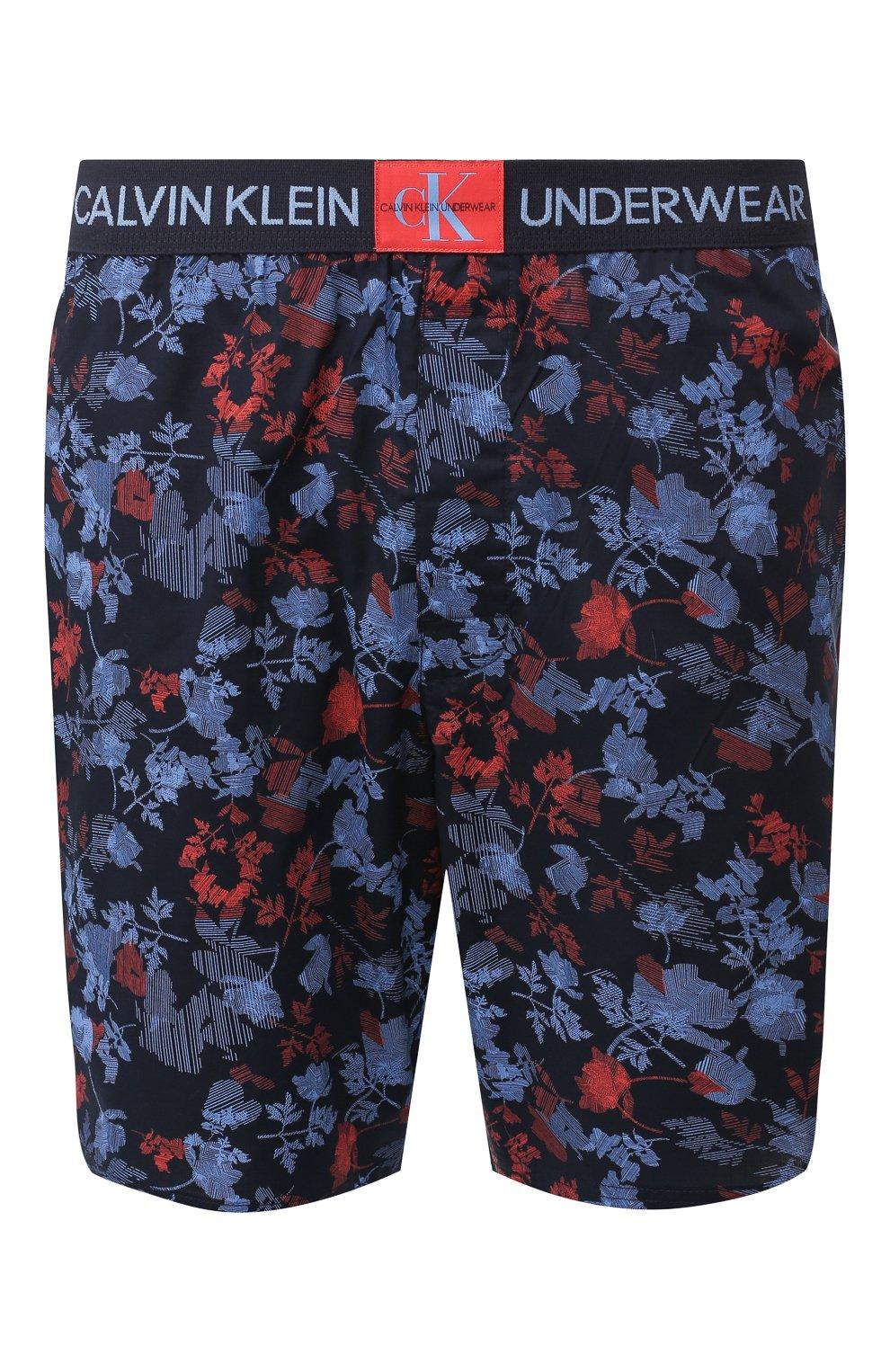 Мужские хлопковые шорты CALVIN KLEIN синего цвета, арт. NM1663E | Фото 1